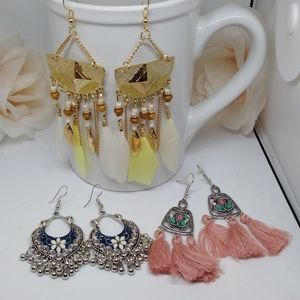 3 pair boho seasonal earring lot